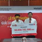 Vietlott đã trao giải trị giá 92 tỷ đồng cho khách hàng trúng thưởng
