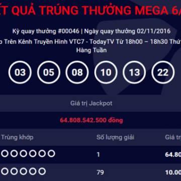 Thêm người trúng số Vietlott 64,8 tỷ đồng