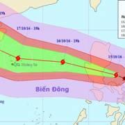 Bão Sarika mạnh cấp 14  vào Biển Đông trở thành cơn bão số 7