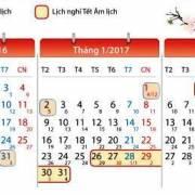 Lịch nghỉ Tết Âm lịch năm 2017