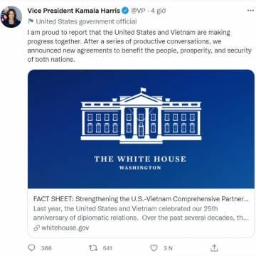 Bà Harris: Mỹ và Việt Nam đang cùng nhau tiến bộ